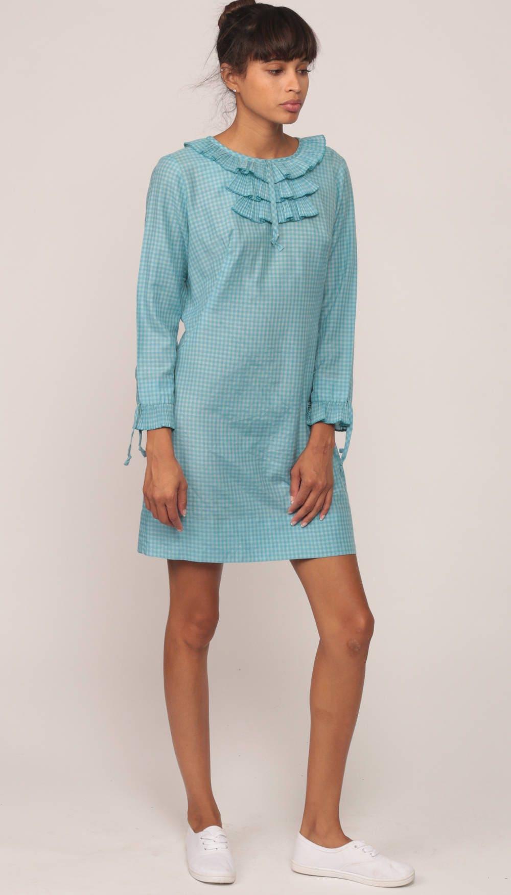 60s Mini Dress Mod Ruffle Twiggy Blue GINGHAM Print 1960s xs
