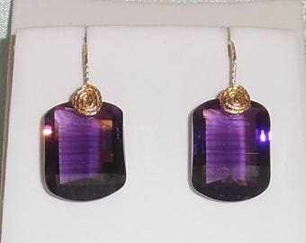 Natural 37cts Fancy Purple Amethyst gemstones, 14kt yellow gold Pierced Earrings