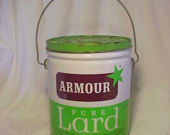 c1940s-50s Armour Pure Lard packed by Armour and Company Chicago, ILL. , Advertising Lard Tin Can No.2