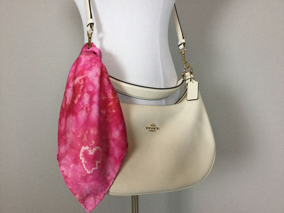 "Valentines Day 20"" Valentine's Day Gifts Purse Scarf, 100% Silk Satin, Pink with Tie Dye Heart  Purse Scarves #197"