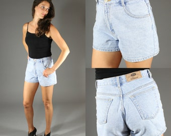Vintage High Waisted Denim Shorts 1990's / 1980's High Waisted  - Light Blue Jean Grunge - Size 9