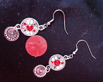 Double Circle Silver Earrings, Colorful Silver Earrings, Circular Earrings, High Fashion Jewelry