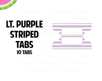 Light Purple STRIPED Tab Stickers  | 10 Kiss-Cut Stickers | Planner Tabs, Midori Tabs, Bible Tabs, Divider Tabs, War Binder Tabs | LB235
