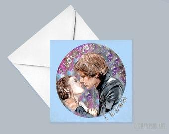 Star Wars Princess Leia and Han Solo card