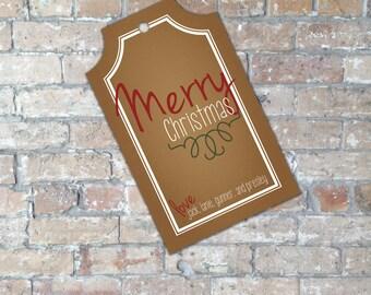 Regalo di Natale rustico Tag {oggetto digitale}