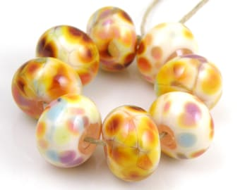 Holidaze SRA Lampwork Handmade Artisan Glass Donut/Round Beads Made to Order Set of 8 8x12mm
