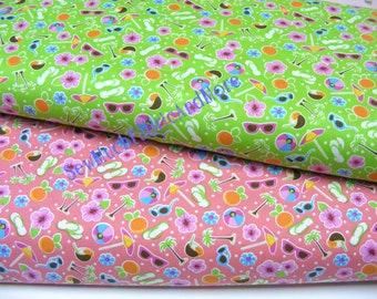 Tropical Beach Theme Fabric~by the yard or 1/2 yd~2 colors~coral~chartreuse~flip flops~Coconut drinks~Flowers~sunglasses~beach balls~Santee