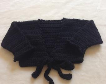 Crochet Ballerina Wrap Cardigan, Crochet Ballet Shrug, Midriff Cardigan, Girl Wrap Cardigan, Black Ballet Wrap Sweater, Ballerina Top Coat