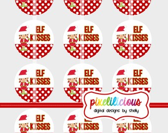 Elf Kisses - Digital Collage - 2 Inch Circles - Buy 2 Get 1 Free - perfect for treat bags