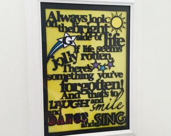 """Papercut of Monty Python's """"Always Look on the Bright Side of Life"""""""