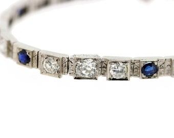 14K Gold Diamond and Sapphire Bracelet