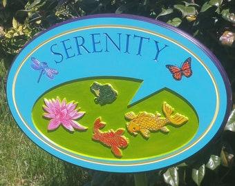 Backyard Garden Decor Koi Pond Art Signs