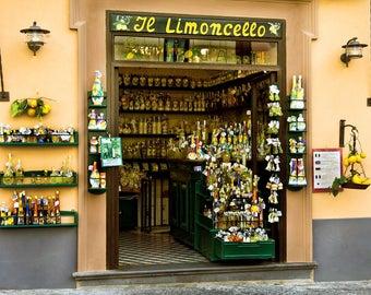 Limoncello Shop, Amalfi Coast, Limoncello Print, Limoncello Photograph, Italy Wall Decor, Colorful Storefront, Italy Market, Fine Art Photo
