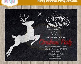 Merry Christmas Party Invitation, Blackboard Invitation, Merry Christmas Invitation, Christmas Party, Christmas Invitation, Holiday Party