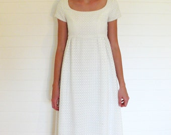 "Vintage wedding/white dress, scoop neck short sleeved . . . ""Like"" our fb page for 10% discount"