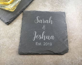 Custom Coaster Set Engraved Slate Coasters Personalized Coasters Custom Engraved Coasters Engraved Wedding Gift Housewarming Gift Bar Gift