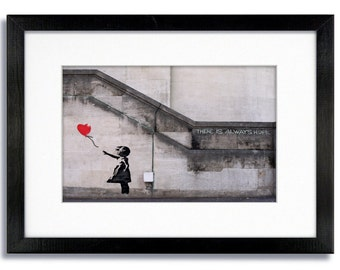 "Banksy Balloon Girl "" There Is Always Hope "" Mounted & Framed Print"
