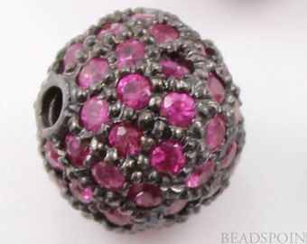 Pave Ruby Beads, Pave Ruby balls, Pave Beads, Ruby round beads, Round Beads ,Oxidized Silver, Pave Findings, Size 8 mm. (RB-BA8)