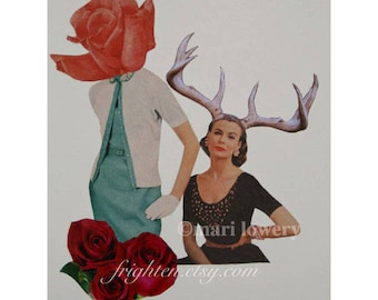 One of a Kind Paper Collage, 8.5 x 11 Inch Surreal Art, Retro Paper Art, Woman with Antlers, Weird Wall Decor, frighten