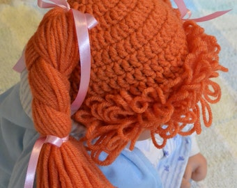"Ready to ship! Crochet Cabbage Patch Kid hat wig size 1-2 yr old (18"")"