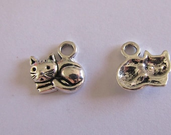 5 silver charms cat 14mmx14mm