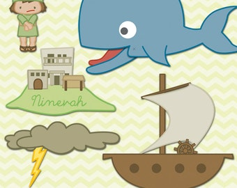 Jonah and the Whale Printable PDF -  bible printables - scripture printable - Instant Download