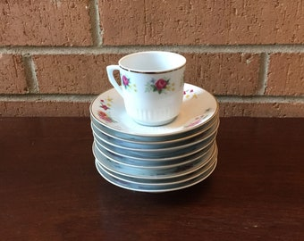 Set of 8 Floral Demitasse Espresso Cups and Saucers