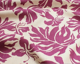 Fabric pure linen ecru philodendron leaf leaves printed