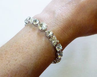 Mid Century designer white crystal rhinestone Eisenberg ice signed bracelet