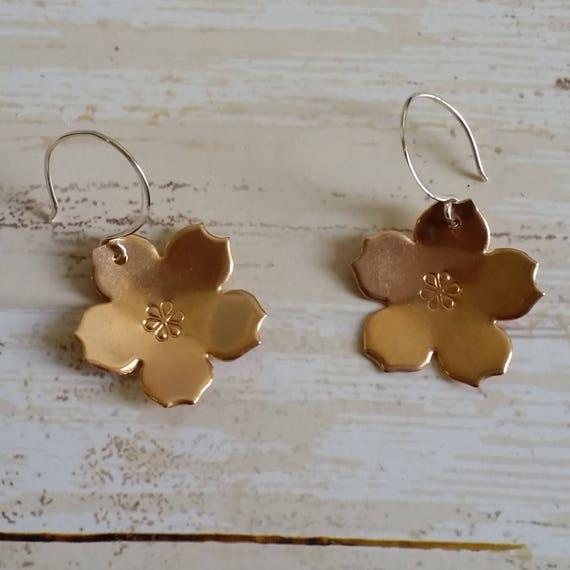 Bronze and Sterling Silver Sakura Flower Dangle Earrings