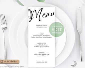 Simple Wedding Menu Template — Diy Editable Menu Template, Printable Wedding Menu Card, Calligraphy Menu, Dinner Menu, Reception Menu 4x9