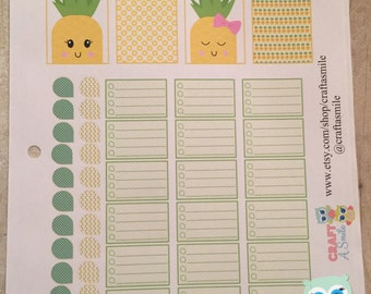 Sticker Sheet - Pineapple Theme for your Personal Planner (full weekly package is available in the shop)