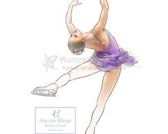Digital Stamp - Instant Download - Ice Flower - Figure Skater in Layback Spin - Fantasy Line Art Digi for Arts and Crafts - AuroraWings