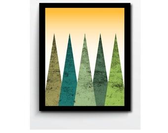 Green Mountains Abstract Print Landscape, Yellow Sky, Modern Abstract Art, Home Decor, Wall Decor, Wall Art, Modern Art Poster