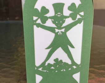 "Paper Lantern / Luminary - set of 4 St. Patricks Day Silhouette-""Green Leprechauns"""