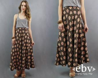 Silk Maxi Skirt Floral Maxi Skirt Brown Floral Skirt 90s Skirt 1990s Skirt 90s Maxi Skirt 90s Floral Skirt High Waisted Skirt Silk Skirt XL