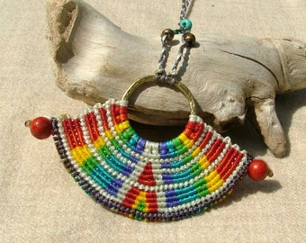 Somewhere over the rainbow beaded macrame necklace colorful red coral beads - tagt team