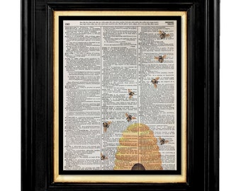 Bee Hive, Queen Bee, Honey Bee Wall  Print, Honey Bee, Mixed Media Size 8x10 Vintage Dictionary Page Print, Honey Bee Pictures, Bees