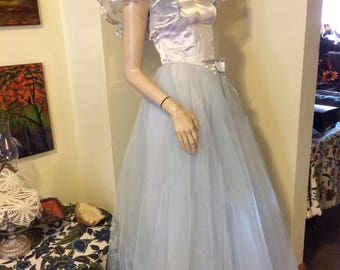 Vintage 70s Pale Blue Satin Chiffon Lace Tulle Huge Full Skirt Princess Ballerina Wedding Prom Party Evening Gown Size Small X Small