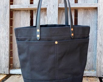 Waxed Canvas Tote Bag with Leather Handles - Large Black Tote With Extra Pocket