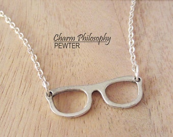 Eyeglasses Necklace - Antique Silver Jewelry - Spectacles Charm - Glasses Pendant
