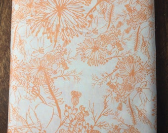 Orange and White Flower Fabric, Flower Fabric, Floral Fabric, Nursery decor, kids quilting supplies