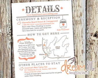 Rustic Wedding Invitation Details - Printable - Map - Directions - Custom