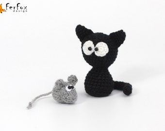 Collectible miniature Black cat and mouse Tiny animals Crochet miniature collection Plush cat Tiny mouse Stuffed cat mouse Stuffed animals