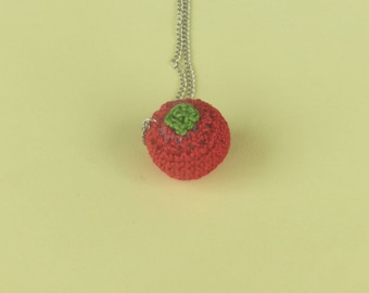 Necklace long chain pendant tomato/vegetable in crochet, handmade gifts for Christmas gift