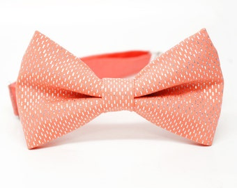Silver Sparkle Coral Bow Tie for all ages - Pre-tied bowtie - ring bearer, wedding day, photo prop, church, party, holiday