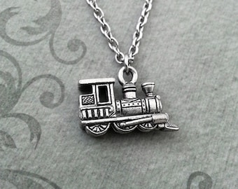 Train Necklace VERY SMALL Train Jewelry Silver Train Pendant Necklace Train Charm Necklace Locomotive Necklace Long Distance Relationship
