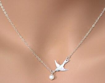 Bird Necklace , Dove Bird necklace , Sterling Silver Swallow Bird Necklace , Silver Bird Necklace , Gold Bird Necklace , Sideways necklace