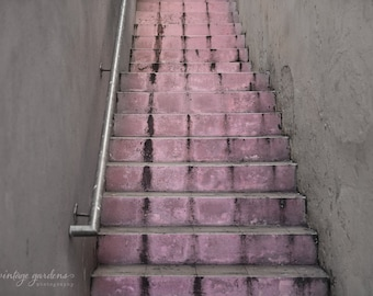 pink staircase in the Bahamas- stairway photography - pink - vacation photo - Original fine art photography prints - FREE Shipping