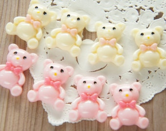 8 pcs Pastel Color Teddy Bear Cabochon (19mm24mm) DR401